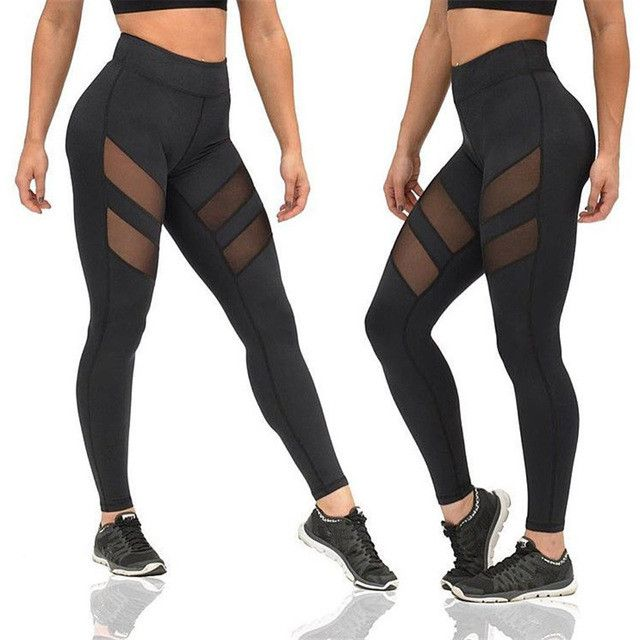 Sexy Yoga Pants lace transparent leggings see through high waist mesh black gym leggings Fitness sports tights women leggins