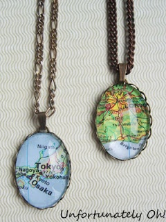 5 Breezy Ways to Use Maps in Jewelry, would work well for the scrabble tile necklaces.