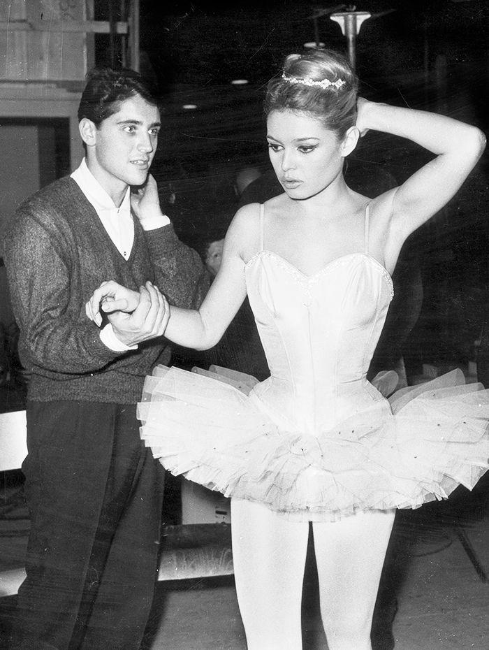 Brigitte Bardot and Sacha Distel rehearse for Ballet de Sylvie in Paris in 1959