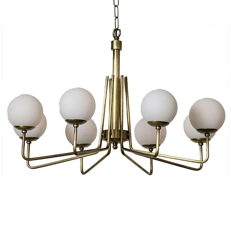 Noir rays chandelier brass