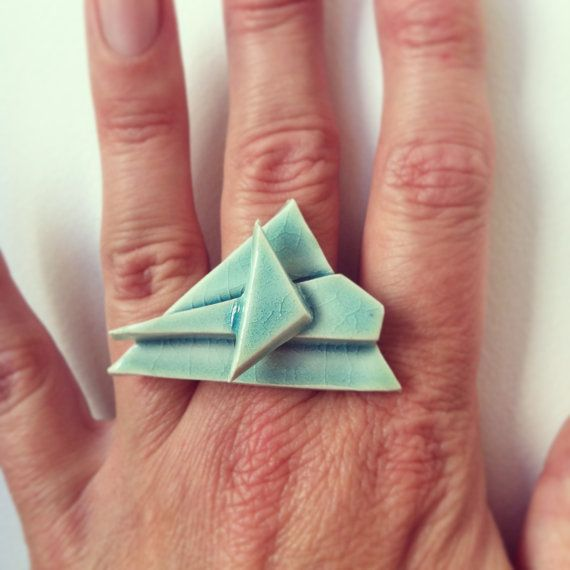 geometric triangle stacked ceramic ring; ocean aqua blue crackle glaze - by  sproutstudio,  California, US