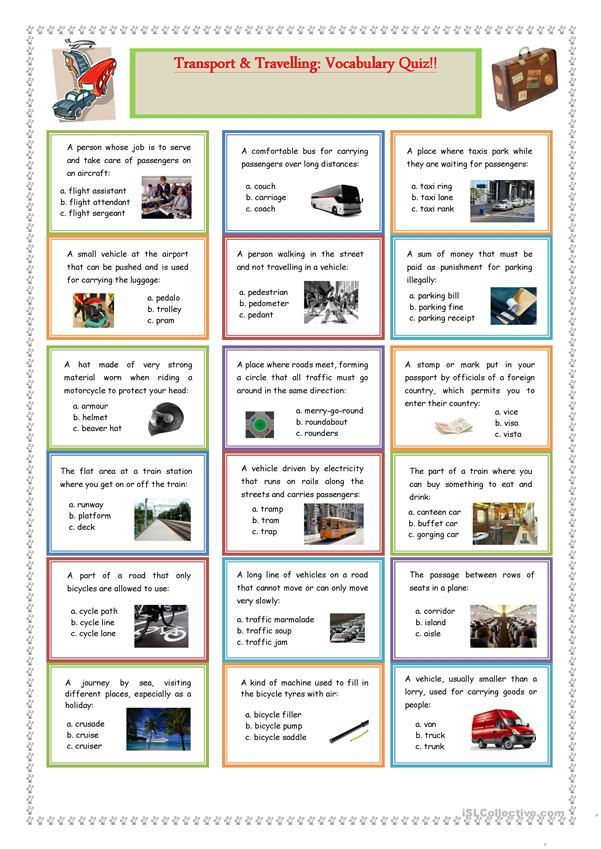 Transport and Travelling: Vocabulary Quiz