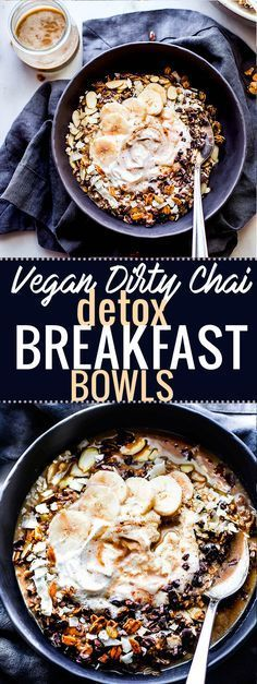 Detox Breakfast Bowls that are energy-packed to set your day off right foot. These vegan dirty chai detox breakfast bowls are not only healthy and nourishing, but full of anti-oxidants rich spices and immunity boosting nutrients. Gluten free overnight oats, chia, and quinoa soaked in a coconut milk based dirty chai then topped with almonds and cacao nibs. A breakfast bowl that will perk you up in no time!  www.cottercrunch.com @cottercrunch