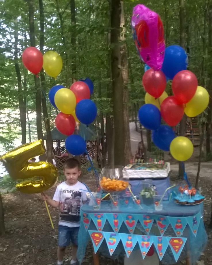 Оформления праздника.День рождения на природе в стиле супермен.#салонDarnine