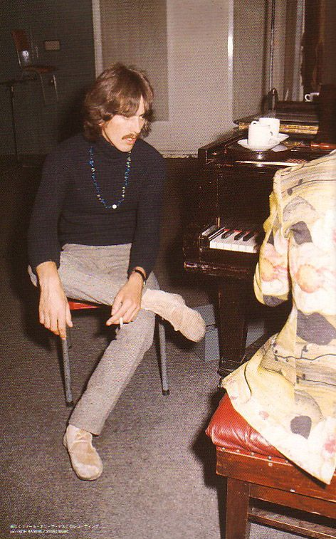 """george-harrison-marwa-blues: """"George during the 25 September 1967 """"The Fool On The Hill"""" sessions at Abbey Road Studios. During the session, The Beatles were visited and interviewed by Japanese..."""