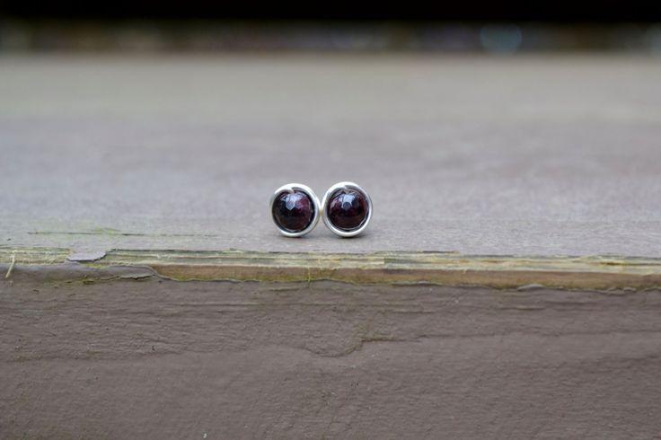 Faceted Garnet Silver Stud Earrings, Garnet Earrings, Stud Earrings, Wire Wrapped Earrings, Bridesmaid Jewelry, Post Earrings, Studs by CoastalDreamer on Etsy
