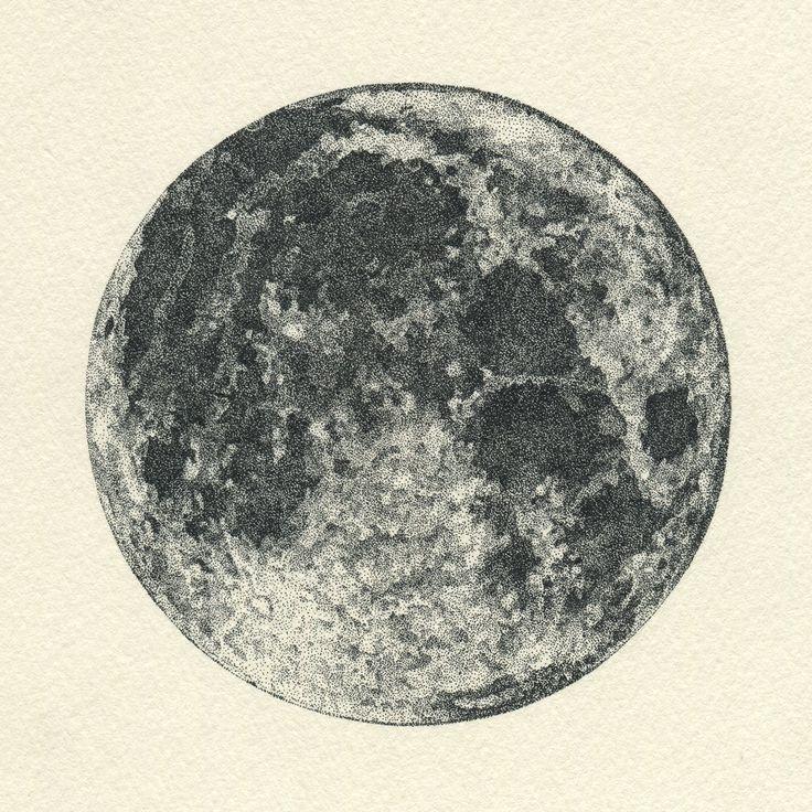点描:月 #イラストレーション #イラスト #illustration #illust #月 #moon #点描