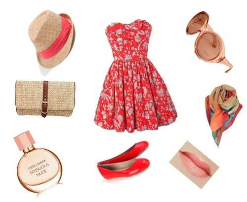 Jack Wills mini dress / Just Ballerinas flat shoes, $155 / Gap handbag / GUESS fedora hat / Paul Smith red shawl, $210 / Estée Lauder nude perfume