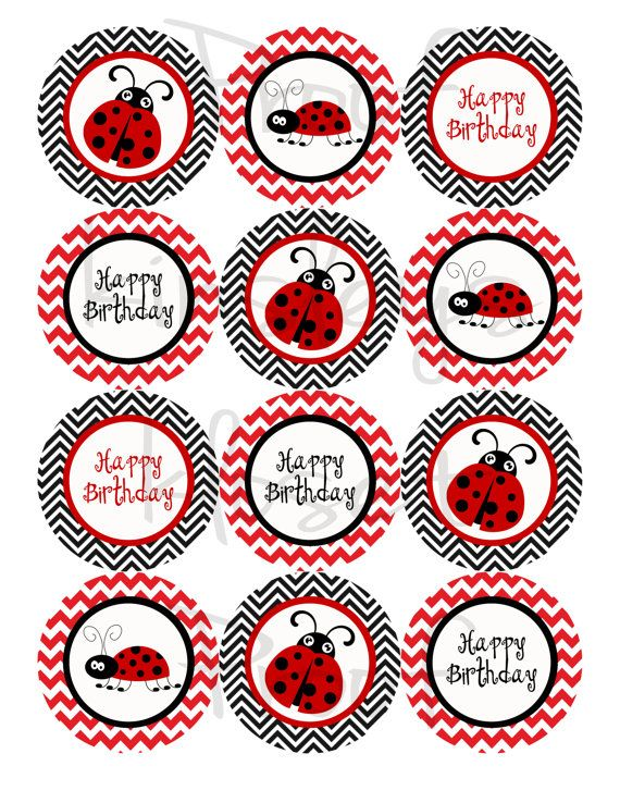 Red and black Ladybug Party Cupcake Toppers  by kinsleyskloset, $6.50