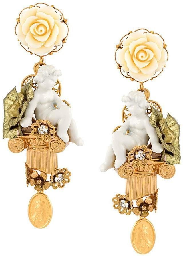 b51d0bd6f Dolce & Gabbana Cherub Gold-plated Swarovski Crystal Clip Earrings, BOXED # DolceGabbana #DropDangle