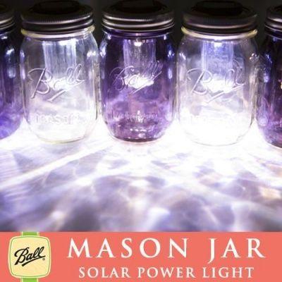 画像2: ソーラーメイソンジャー Solar Ball Mason jar 太陽光発電 限定パープル