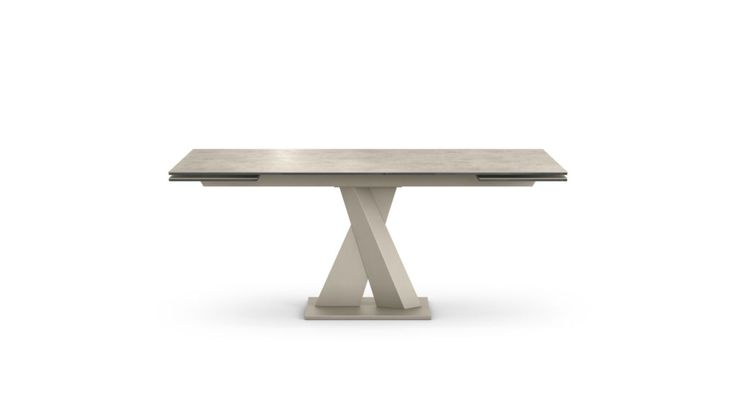 Dining table, with composite top in 10 mm-thick glass and 3 mm-thick Savoy or Fokos ceramic.  With 2 extension leaves of 40cm each.  Aluminum crossbar  Central leg in lacquered metal and base in lacquer matching the top.