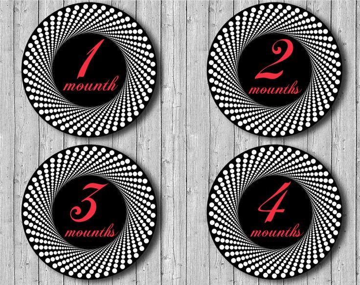 Monthly Onesie Stickers, Milestone Stickers, Stickers  Printable  Months 1-12 Digital by DigitalPrintStore on Etsy