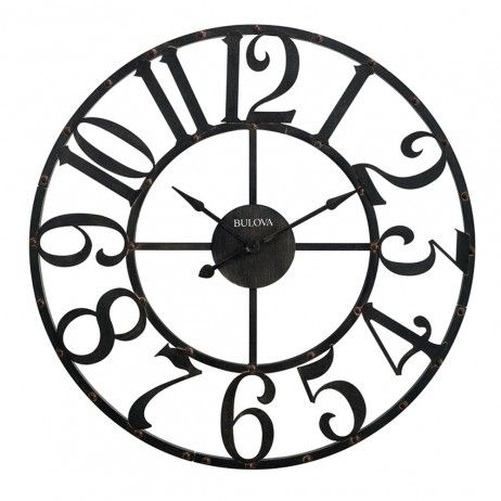 Bulova Gabriel Wall Clock   Overscaled Arabic Numerals And A Rustic Brown  Finish Give This Bulova Gabriel Wall Clock Its Modern Industrial Appeal.