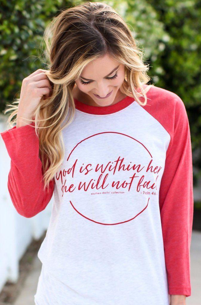 She Will Not Fail 3/4 Sleeve Raglan Tee