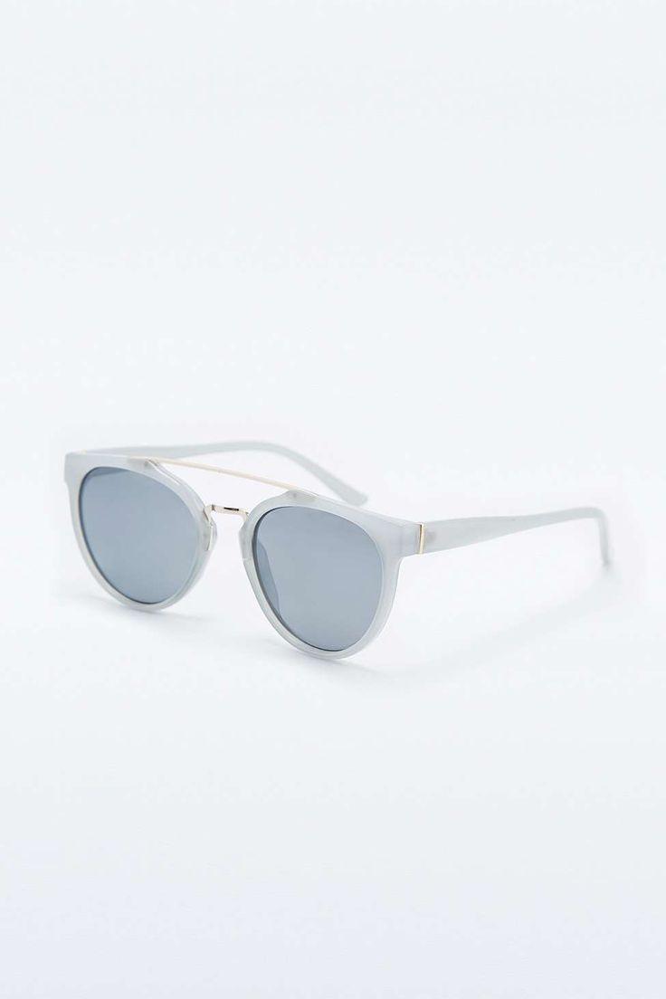Pale Blue Metal Brow Sunglasses