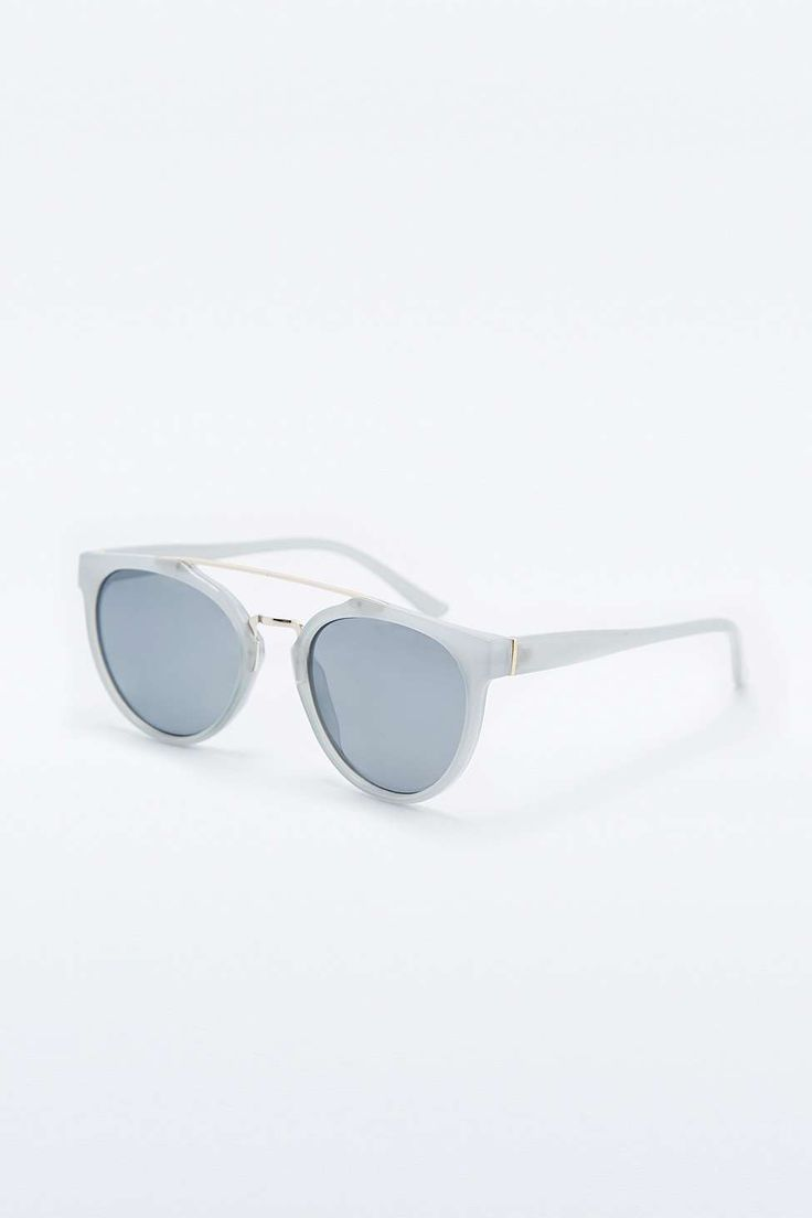 Pale Blue Metal Brow Sunglasses