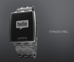 Pebble Steel Watch - Pebble drops a new all steel, waterproof and top-end watch to accompany their more kid and color friendly version. Same resolution and still black and white however.