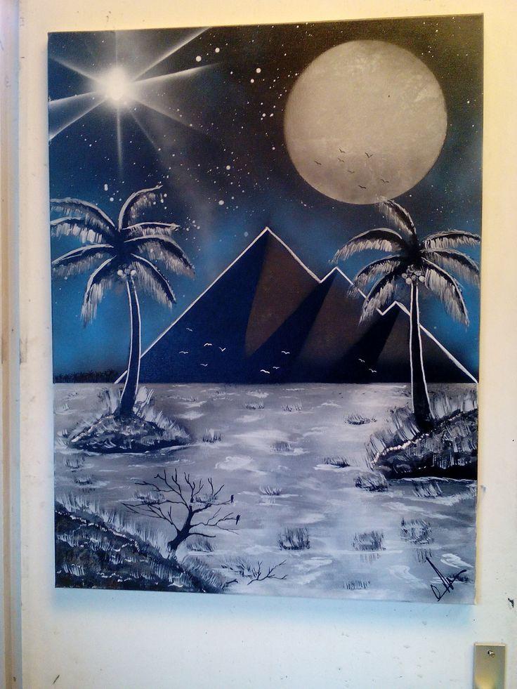 Les pyramides d Égypte éclairé par la lune,peinture acrylique. : Décorations murales par angeloli