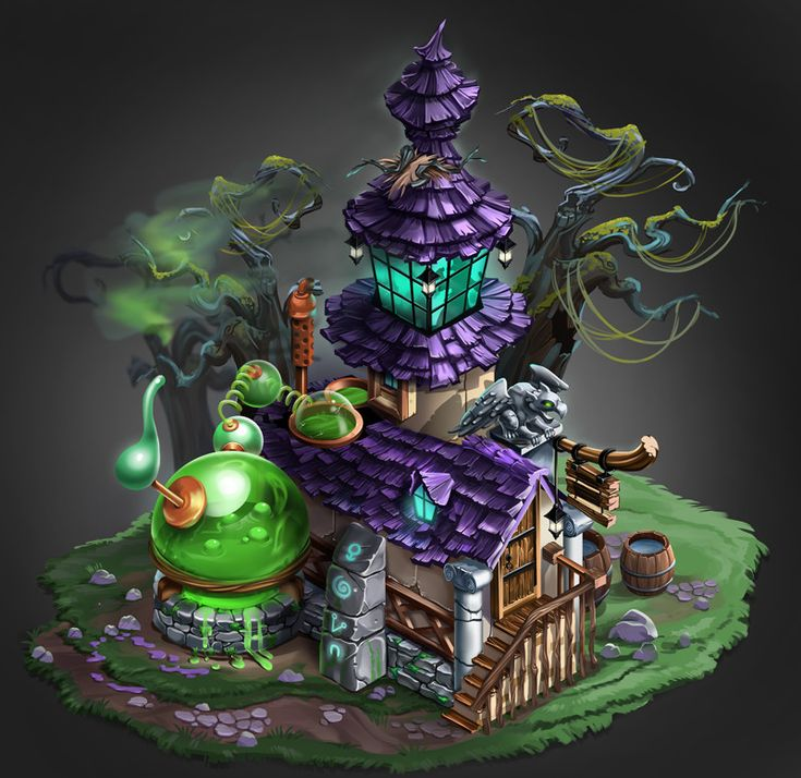 Isometric alchemist's house, Corina Stan on ArtStation at https://www.artstation.com/artwork/vBzRv