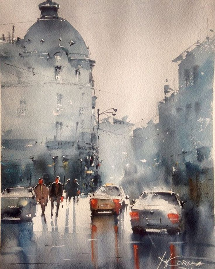 Bucharest Street Watercolor by Maria Cornea 40*30cm
