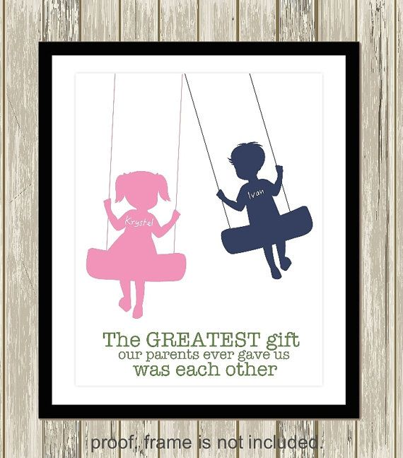 Please visit my shop: https://www.etsy.com/shop/PicabooArtStudio Personalized kids art, brother and sister wall art, siblings art, shared room decor. boy girl art, brother sister quote, custom colors Welcome to Picaboo Art Studio! Your one stop shop for completely customizable nursery art and children's decor that will add the final touches to your little one's room. All prints are designed and created by Picaboo Art Studio. TO ORDER YOUR CUSTOM PRINT: Make your purchase...