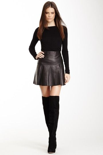 Image of VINCE. Flare Leather Skirt