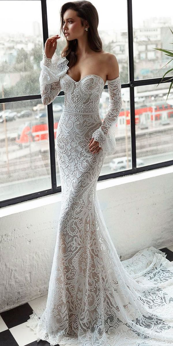 36 Totally Unique Fashion Forward Wedding Dresses ❤ fashion forward wedding dresses sheath sweetheart lace long sleeves with train trendy julie vino ❤ See more: http://www.weddingforward.com/fashion-forward-wedding-dresses/ #weddingforward #wedding #bride