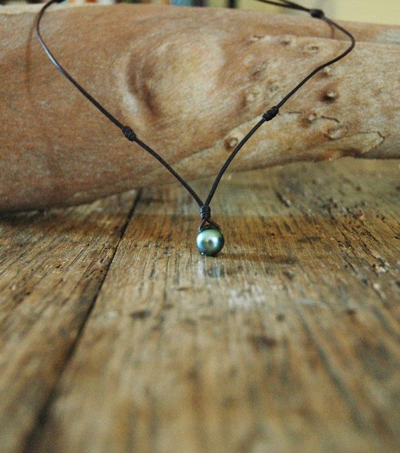 Collier femme perle de culture de tahiti collier adaptable cuir