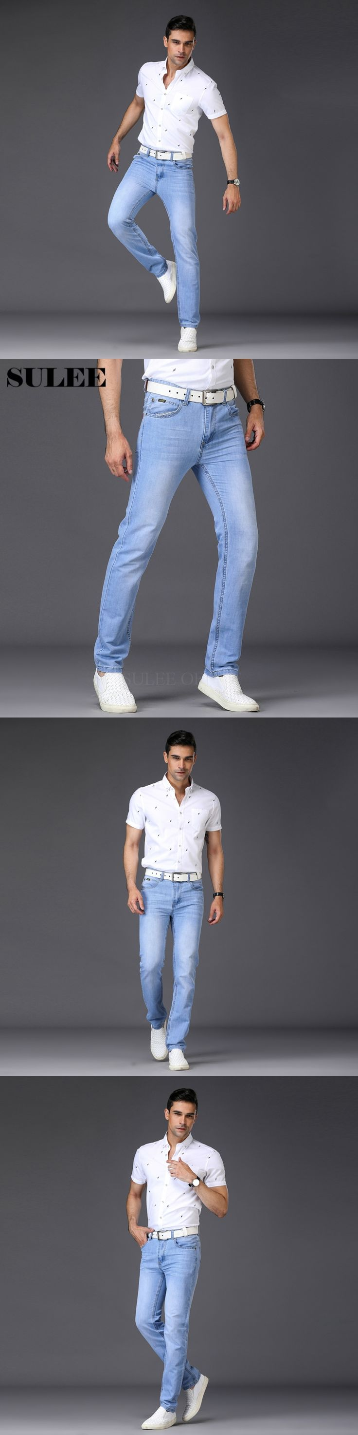 SULEE Brand Skinny Jeans Men Light Weight Thin Classic Jeans Summer Style  Denim Male Pants Brand Spring Autumn Mens Jeans