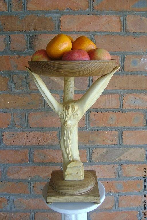 """Фруктовница """"Пан-бог плодородия"""" - жёлтый,фруктовница,Деревянная посуда"""