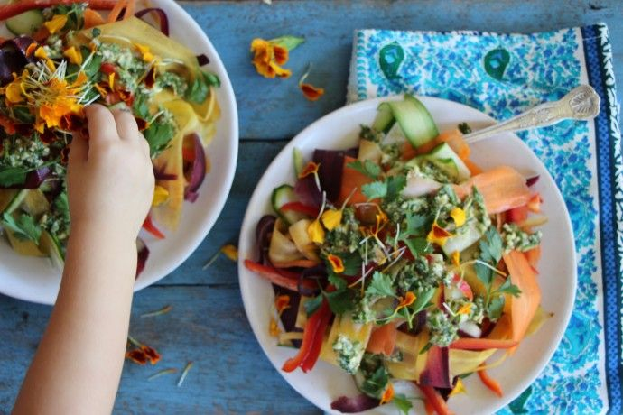 rainbow ribbon salad | yummy | Pinterest