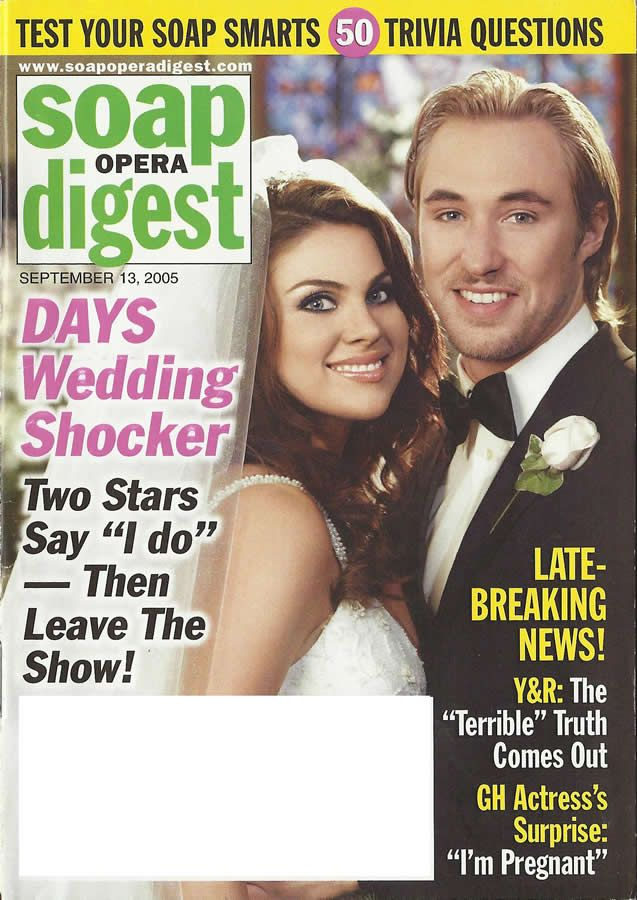 classicsodcovers:  Classic SOD Cover Date: September 13, 2005 Nadia Bjorlin & Kyle Lowder (Chloe & Brady, DAYS OF OUR LIVES)