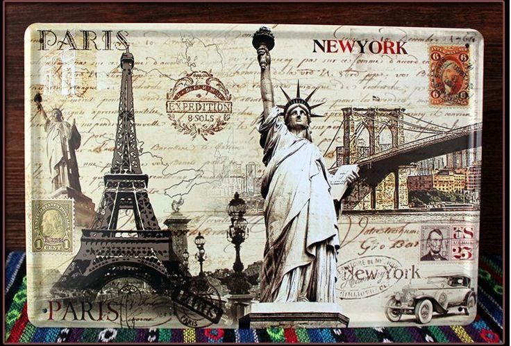 Pas cher peinture m tallique r tro new york paris paysage for Decoration murale new york pas cher