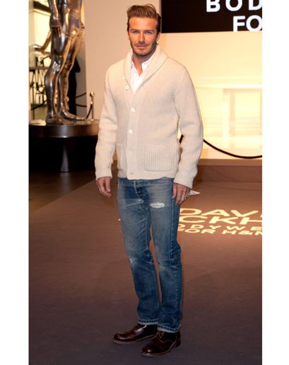 david beckham  -  All it takes is a cardigan, jeans, and a crisp white shirt to be the most stylish dude in the room.
