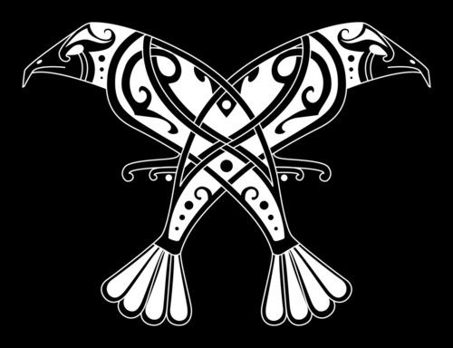 """Huginn & Muninn (Old Norse for """"Thought"""" and """"Memory""""). Scholars have linked Odin's relation to the ravens Huginn and Muninn to shamanic trance-state practice. Odin sends his mind on a journey through the symbolic birds."""