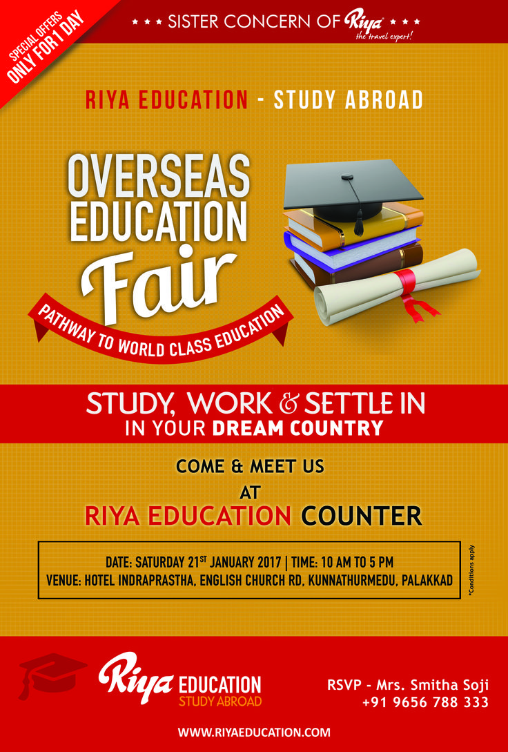 Riya Education - Overseas Education Fair !!! Come and Meet us for study abroad programs.  Visit our website http://www.riyaeducation.com/