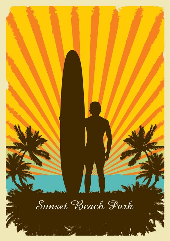 SURFBOARD ART | retro surf art for poster and canvas prints // available as din a2 ...