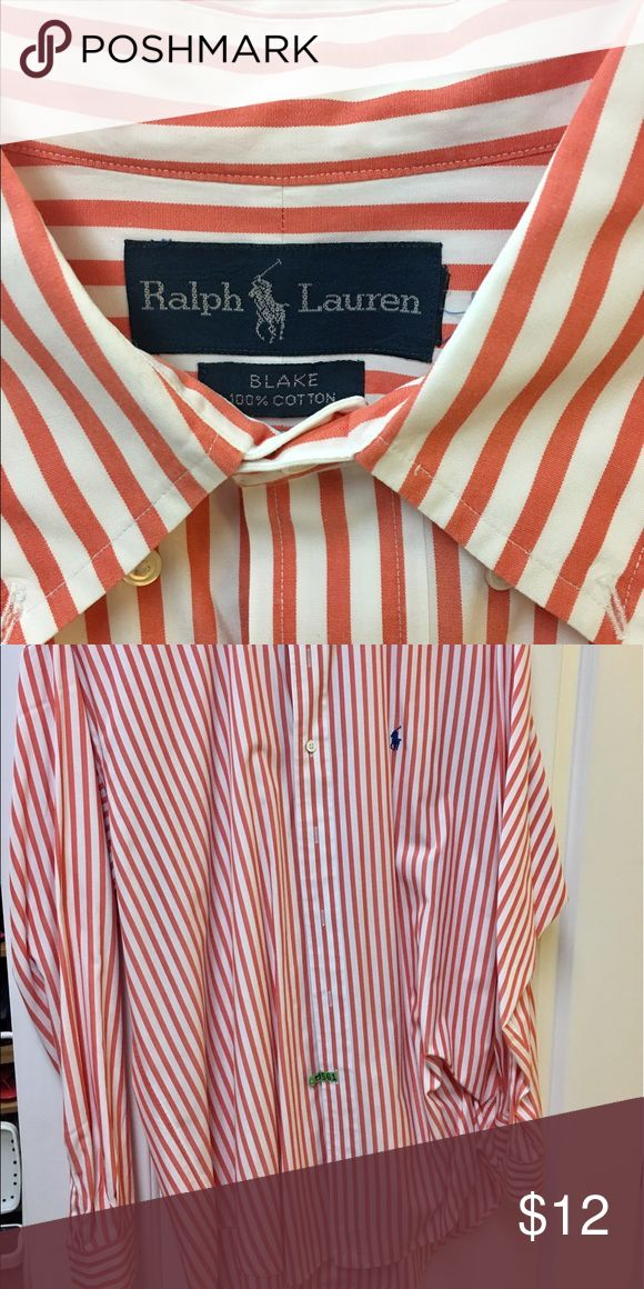 Men's Ralph Lauren Polo dress shirt size Large Men's Ralph Lauren Polo dress shirt size Large, Blake style, orange stripe, excellent condition Polo by Ralph Lauren Shirts Dress Shirts