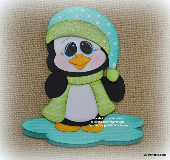 Pingüino de invierno Navidad Premade Scrapbooking adorno papel