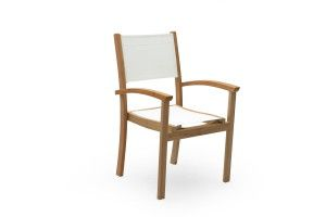 Teak outdoor furniture, white batyline outdoor dining chair, also available in black batyline.