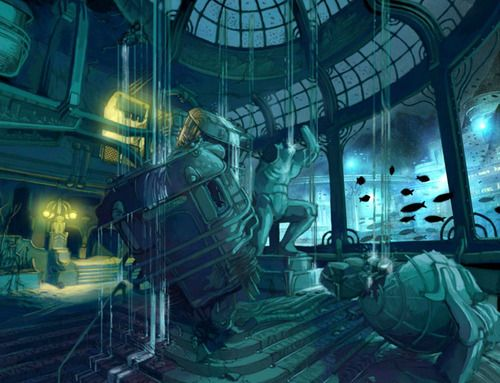 Rapture Leaking Interior Concept Art - Bioshock (PS3/Xbox 360/Windows)
