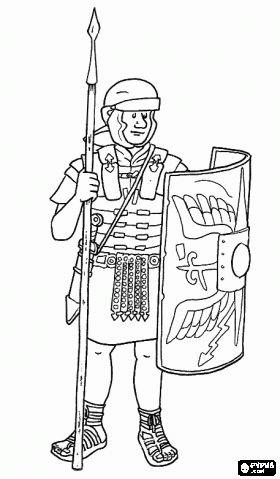 Een Romeinse soldaat, een soldaat gewapend met pilum (speer), zwaard, helm, harnas en schild kleurplaat