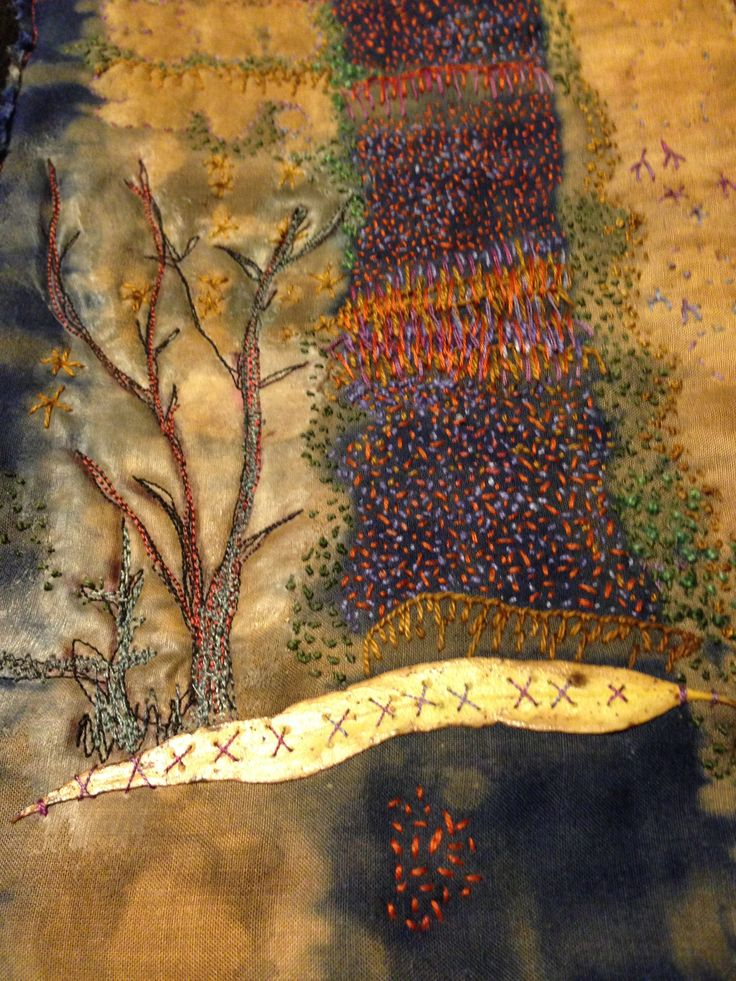'Memories of the Flinders Ranges'; Margaret Hage, shibori discharge on found rayon, hand and machine embroidery , in silk, mohair and cotton threads. found leaf is waxed.