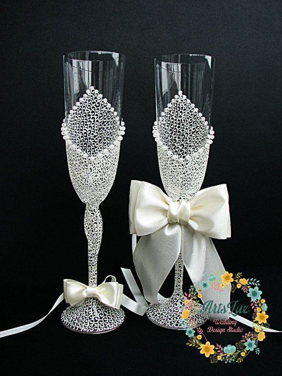 Ivory Charming Wedding champagne glasses Hand painted by ArtsLux