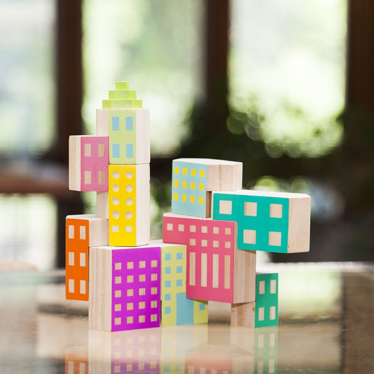 ORIIGINSTORE – ORIGINAL GIFT IDEAS. Blockitecture deco building blocks, stackable, colourful, post-modern architectural designed wooden blocks for kids