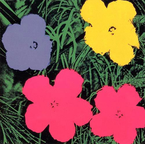 Andy Warhol Resist Art Project - Art History Mom Paste paper for grass, collagraph flowers