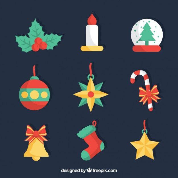 Christmas Drawn Icons Collection Free Vector