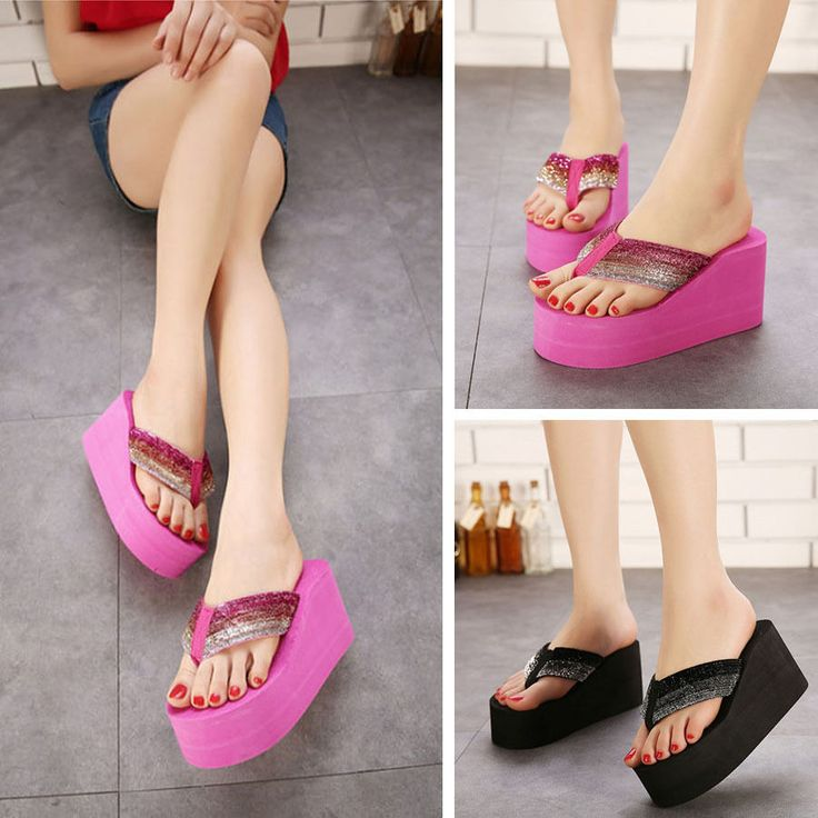 Fashion Womens Beach High Heel Wedge Platform Flip Flops Sandals Slippers Shoes   Clothing, Shoes & Accessories, Women's Shoes, Sandals & Flip Flops   eBay!