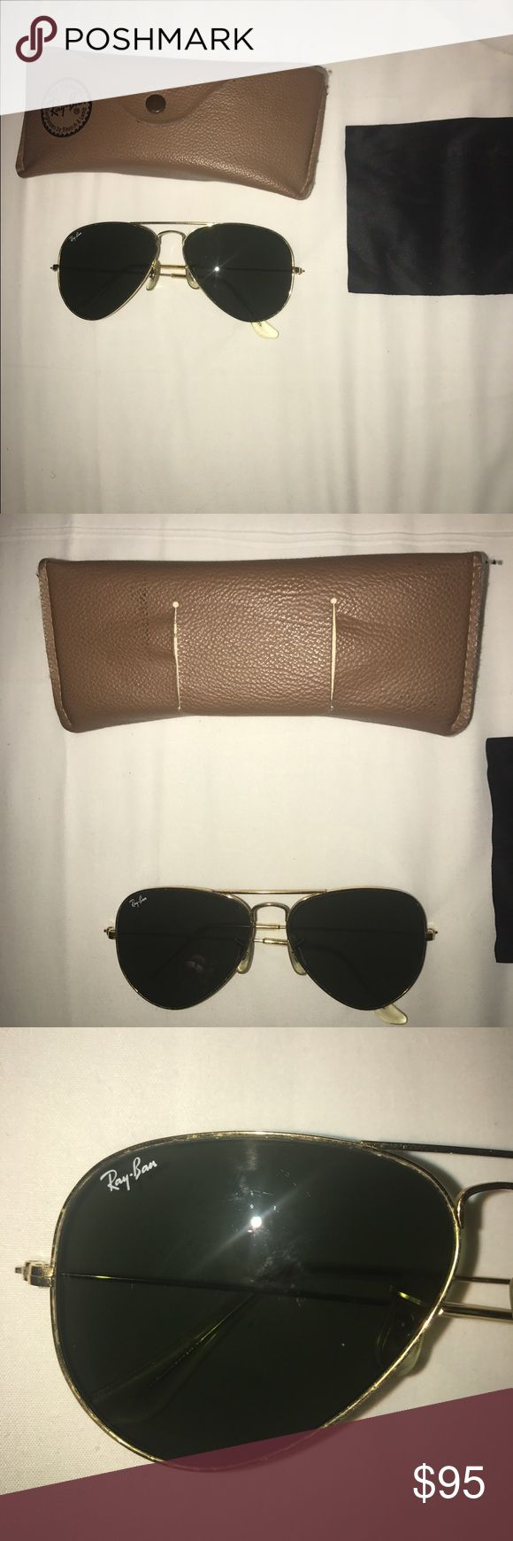 Rayban aviator gold sunglasses Small aviator gold rimmed aviators. Ray ban comes with case with suede on the inside Ray-Ban Accessories Glasses